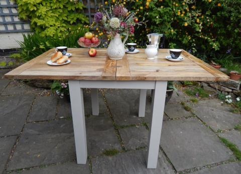 Mini Rustic Oak Finish Extending Table (painted)